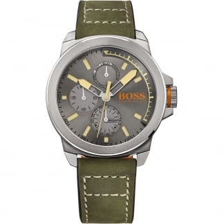Men's Green Leather Strap Multifunction New York Watch