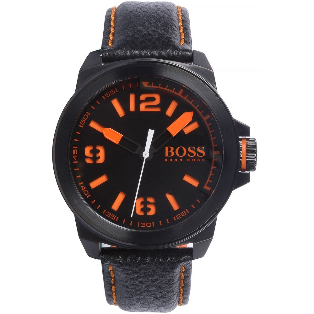 fdd3b2ed02e Men s New York Black Leather Strap Watch with Orange Accents Product Code   1513152