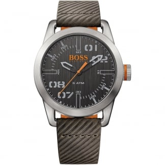 Men's Oslo Textured Brown Strap Watch
