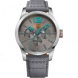 Men's Paris Grey Textile Multifunction Watch