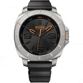 Men's Rubber Strap Watch with Black Dial and Orange Accents 1513105