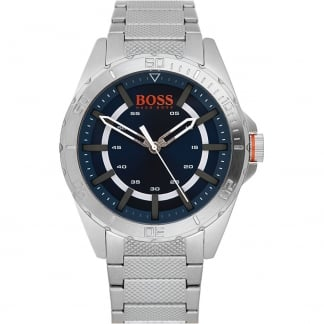 Men's Stainless Steel Berlin Watch with Blue Dial