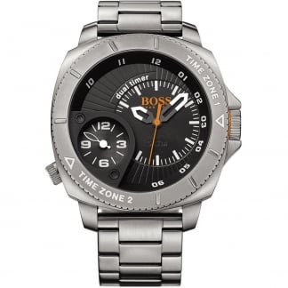 Men's Stainless Steel Dual Time Watch with White Accents