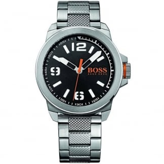 Men's Stainless Steel New York Watch with Black Dial
