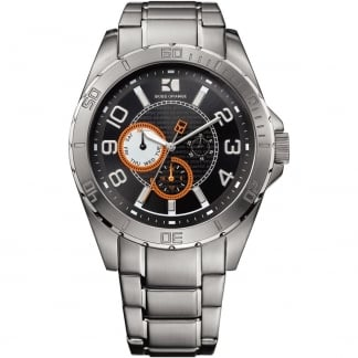 Men's Stainless Steel Watch with Black Dial