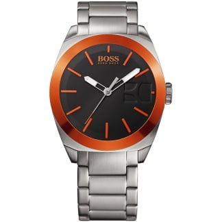 Men's Stainless Steel Watch with Black and Orange Dial