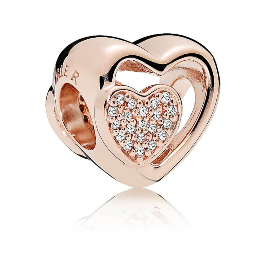 PANDORA Joined Together Rose Heart Charm 781806CZ