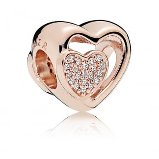 Joined Together Rose Heart Charm