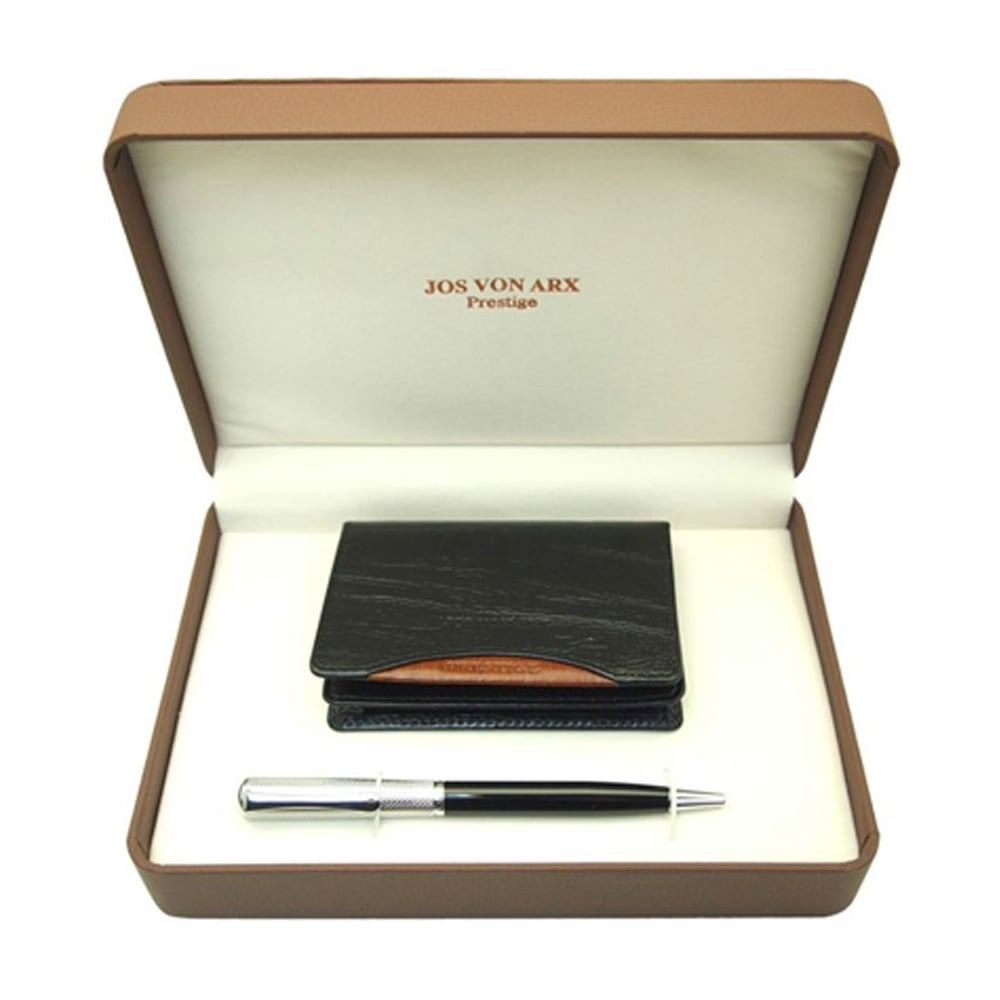 Mens ballpoint pen leather business card holder set accessories men039s ballpoint pen amp leather business card holder set reheart Image collections