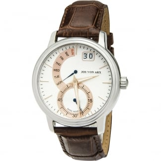 Men's Brown Leather Retrograde Swiss Quartz Watch TS25