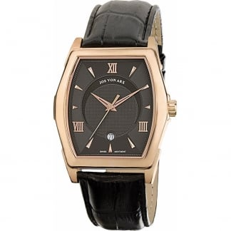 Men's Rose Gold Brown Leather Swiss Quartz Watch TS14