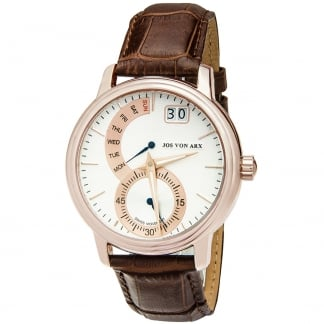 Men's Swiss Brown Leather Rose Gold Retrograde Watch TS26