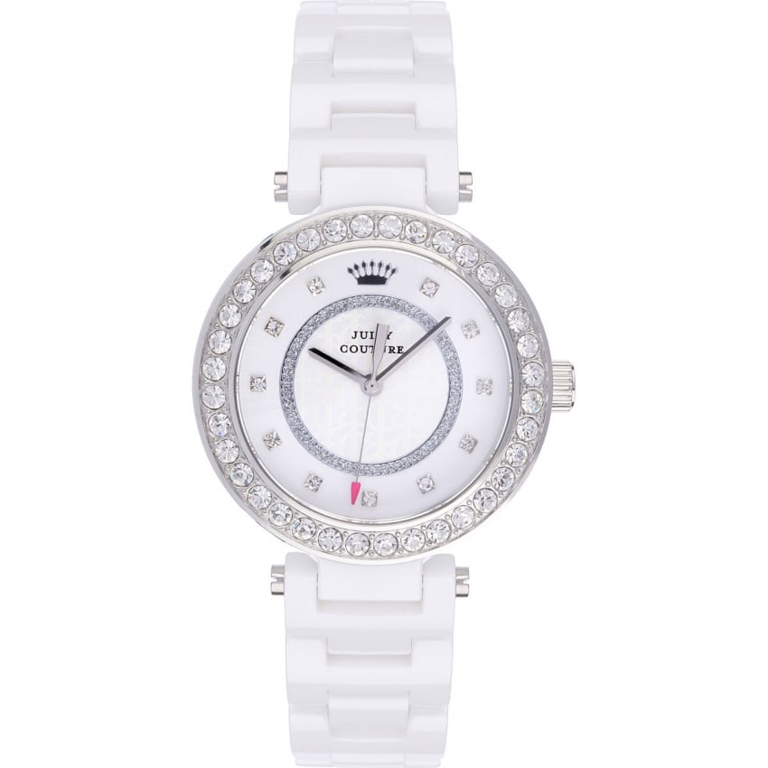 Juicy Couture Ladies White Ceramic Luxe Couture Watch 1901259
