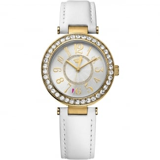 Ladies White Leather and Gold Cali Watch 1901396
