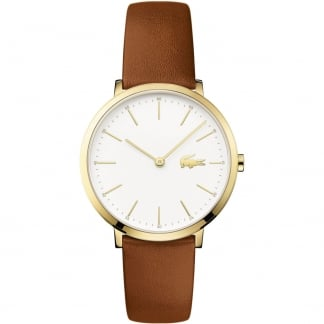 Ladies Moon Gold Slim Tan Strap Watch