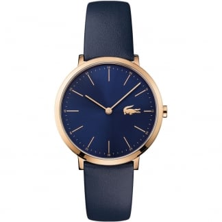 Ladies Moon Rose Gold Slim Blue Strap Watch