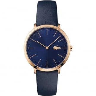 Ladies Moon Rose Gold Slim Blue Strap Watch 2000950