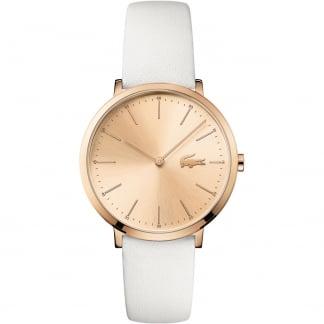 Ladies Moon Rose Gold White Strap Watch 2000949
