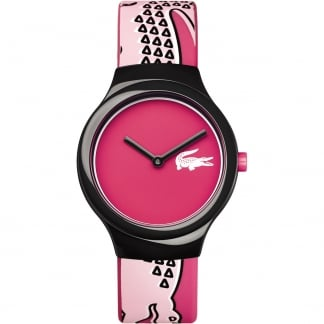 Ladies Pink Goa Watch with Rubber Strap and Pink Dial