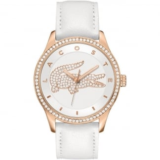 Ladies Victoria White Leather Rose Gold Watch