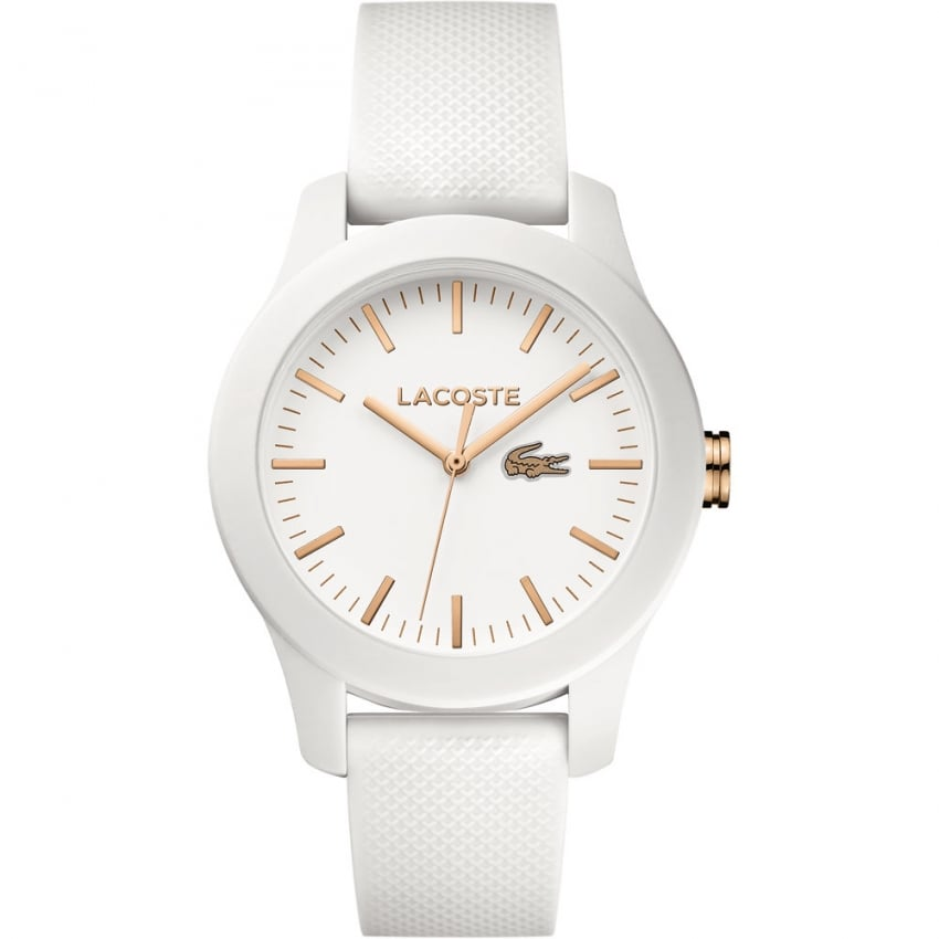 Lacoste Ladies White 12.12 Silicone Strap Watch 2000960