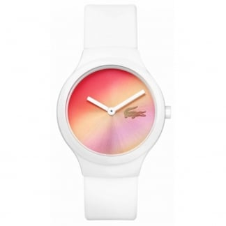 Ladies White Goa Watch with Multicoloured Dial