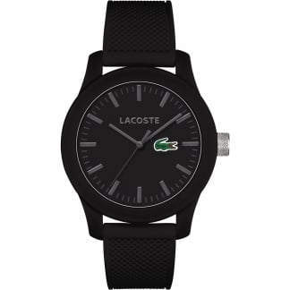 Men's Black 12.12 Silicone Strap Watch