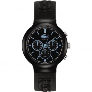 Men's Black Borneo Chronograph Watch with Blue Accents 2010720