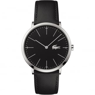 Men's Black Ultra Slim Leather Moon Watch