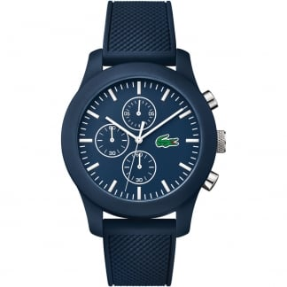 Men's Blue 12.12 Rubber Chronograph Watch