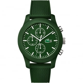 Men's Green 12.12 Chronograph Watch with Rubber Strap