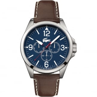 Men's Montreal Brown Leather Chronograph Watch with Blue Dial