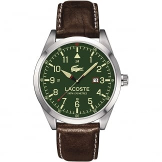 Men's Montreal Brown Leather Strap Watch with Green Dial