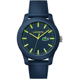 Men's Navy 12.12 Strap Watch With Lime Markers