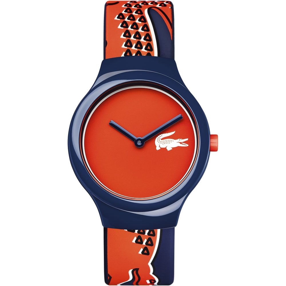 men s lacoste 2020113 watch official uk shop francis gaye lacoste men s red and blue goa watch red dial 2020113