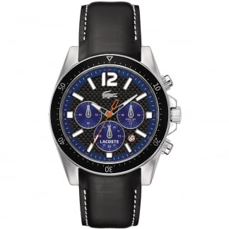 Men's Seattle Black Strap Chronograph Watch with Blue Accents 2010752