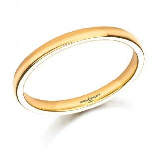 Ladies 2.5mm Medium Court 18ct Yellow Gold Wedding Ring