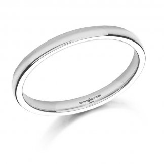 Ladies 2.5mm Medium Court 9ct White Gold Wedding Ring