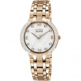 Ladies Rose Gold Tone Bella Watch set with 28 Diamonds EM0123-50A