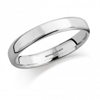 Ladies 3mm 18ct White Gold Softened Flat Court Wedding Band