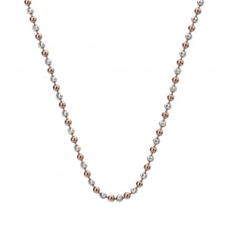 Ladies 61cm Silver and Rose Beaded Chain