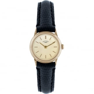 Ladies 9ct Gold Black Leather Dress Watch