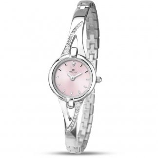 Women's Stone Set Half-Bangle Pink Dial Watch