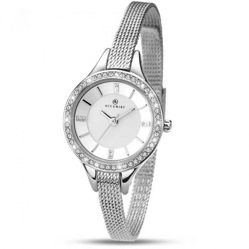 Accurist Ladies Contemporary Stone Set Mesh Bracelet Watch 8003