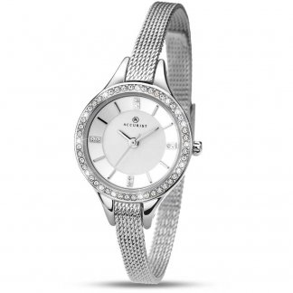 Ladies Contemporary Stone Set Mesh Bracelet Watch