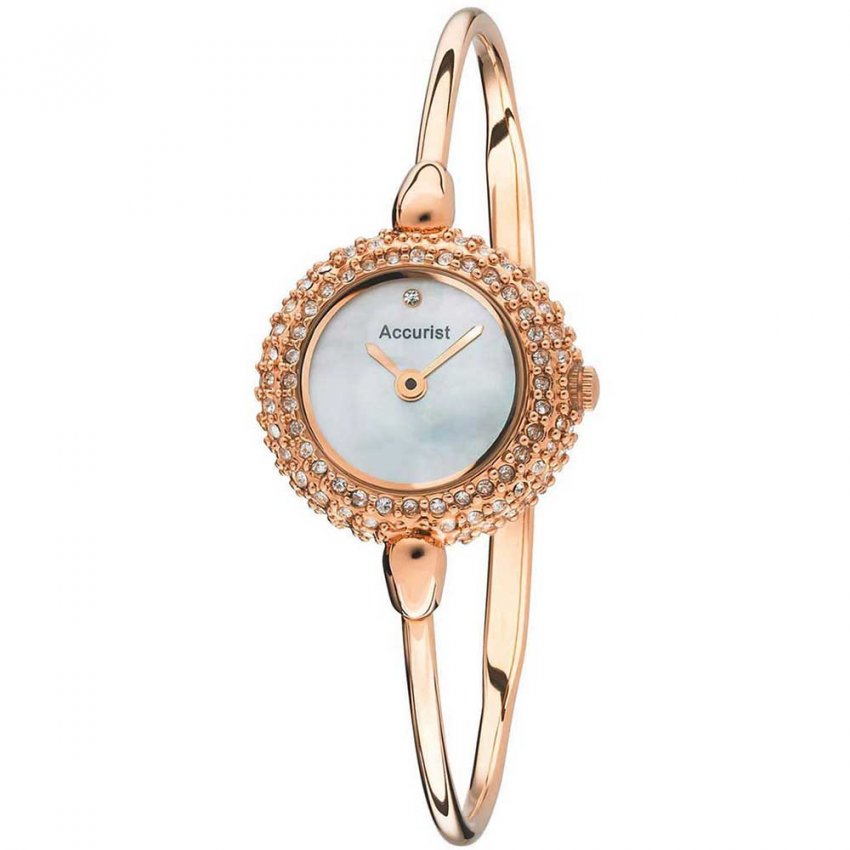 Accurist Ladies Stone Encrusted Rose Gold Bangle Watch LB1495P