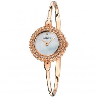 Ladies Stone Encrusted Rose Gold Bangle Watch