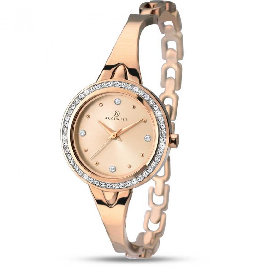 Accurist Ladies Stone Set Rose Gold Half-Bangle Watch 8011