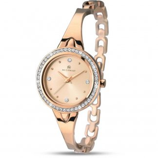 Ladies Stone Set Rose Gold Half-Bangle Watch