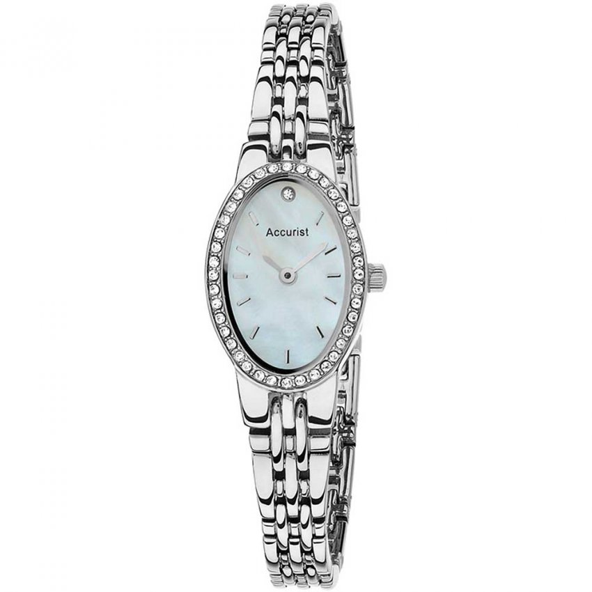 Accurist Ladies Stone Set Silver Tone Quartz Watch LB1348P